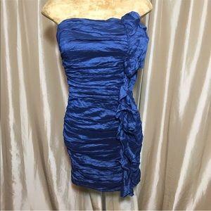 Bebe Metallic Blue Ruffle Strapless Cocktail Dress